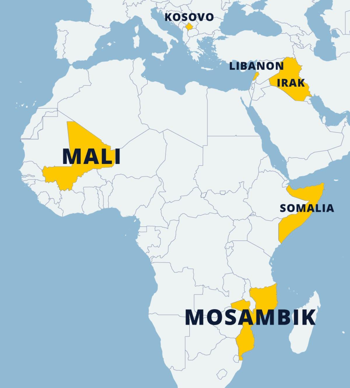 Kartta maista joissa Suomi osallistuu kriisinhallintatehtäviin. Merkityt paikat ovat Kosovo, Libanon, Irak, Mosambik ja Mali.