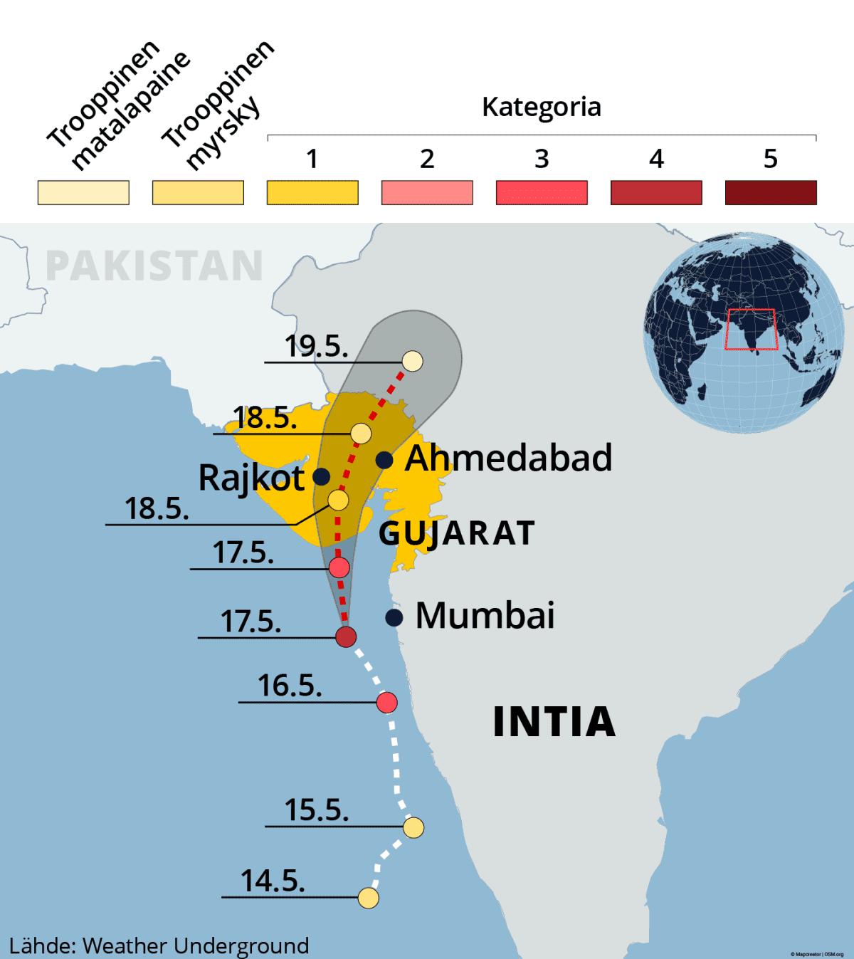 Kartalla sykloni Tauktaen reitti ja ennuste Intian länsirannikolla.