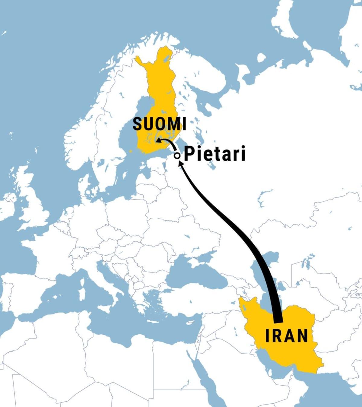 Kartta, jossa kuvattu nuolella reitti Iranista Pietarin kautta Suomeen