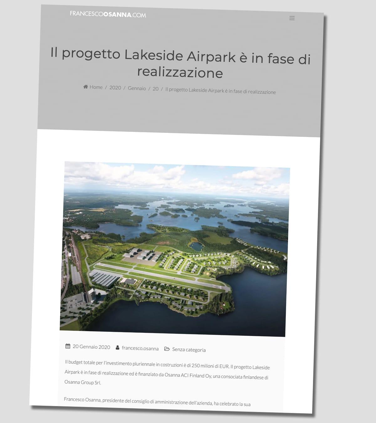 Kuvakaappaus Francesco Osannan verkkosivuilta. Kuvassa on havainnekuva ja italiankielistä tekstiä Mänttä-Vilppulan Airpark-hankkeesta.
