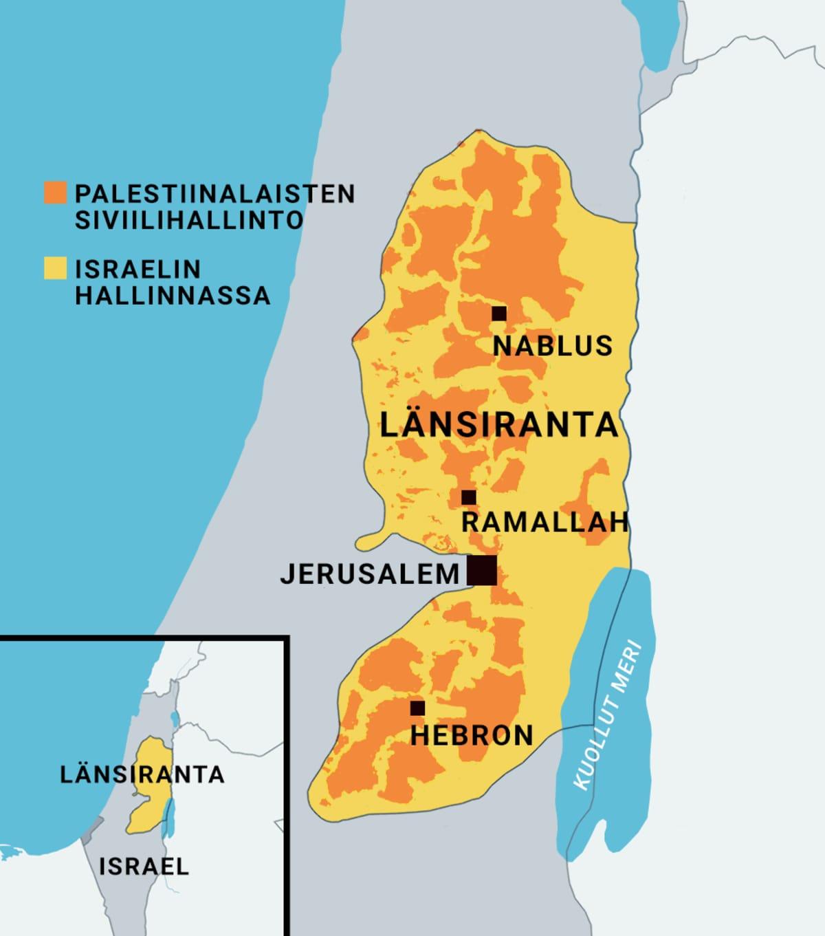Kartta Länsirannan alueesta