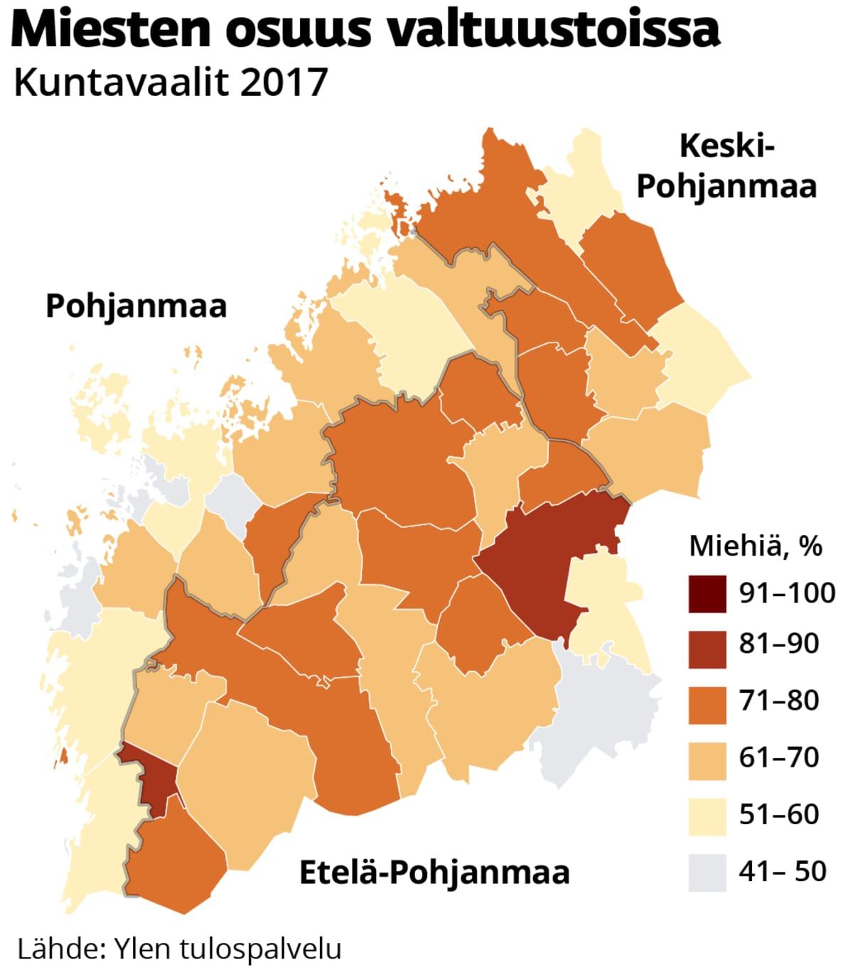 Pohjanmaan maakuntien kuntien valtuustujen miestenosuus koropleettikarttana vuonna 2017.