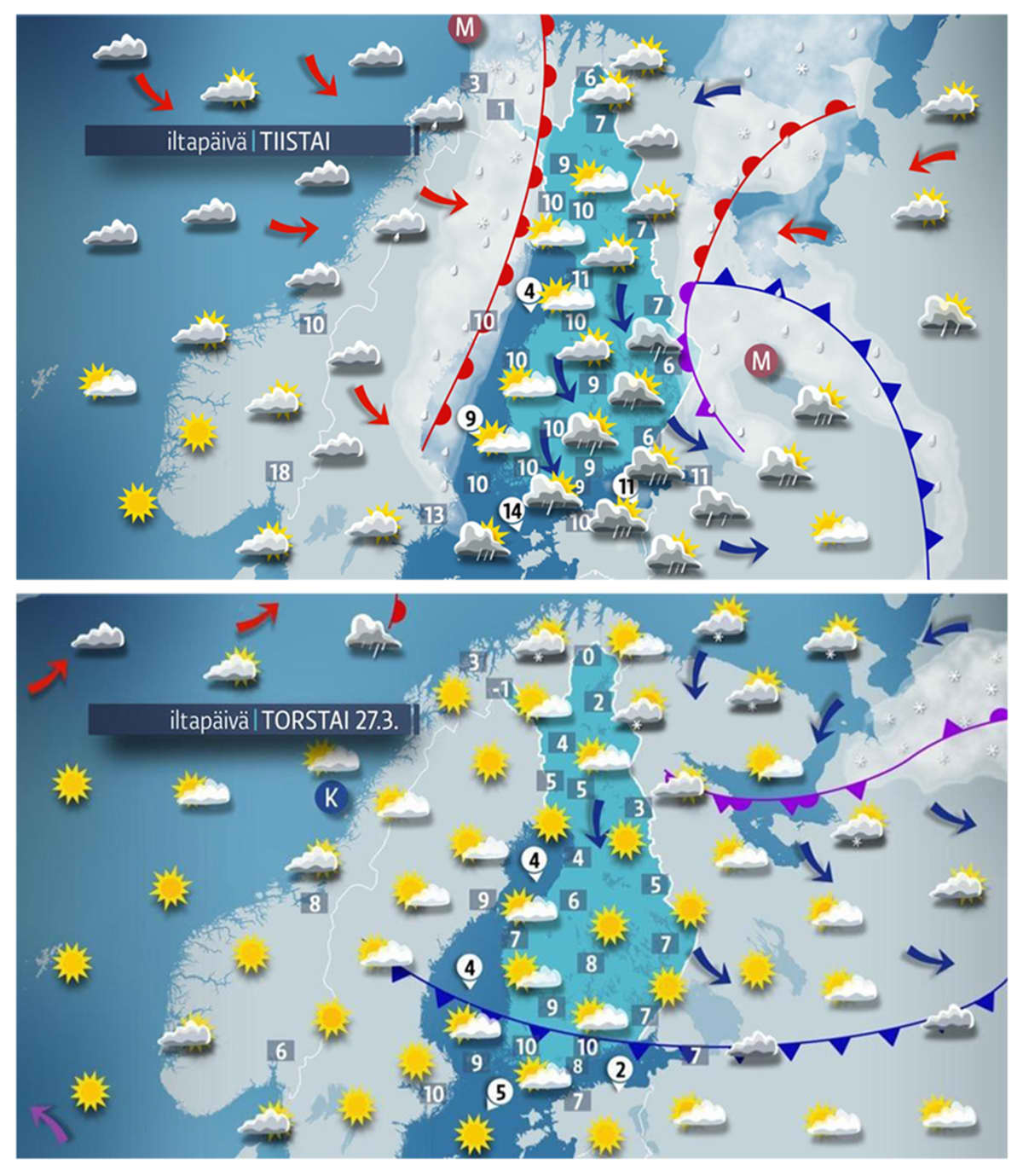 Juhannusviikon sää-vertailu maaliskuun 2014 sääkartan kanssa.