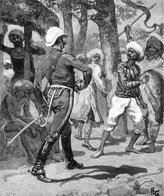 Brittiupseeri kohtaa intialaisia. Piirros 1800-luvun lopulta.