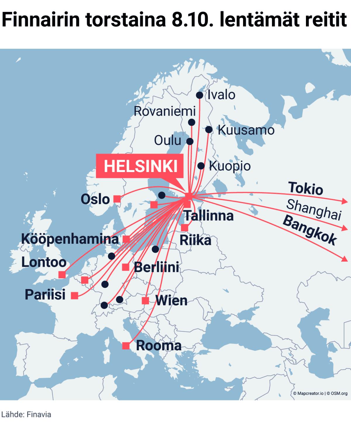 Finnairin torstaina 8.10. lentämät reitit kartalla