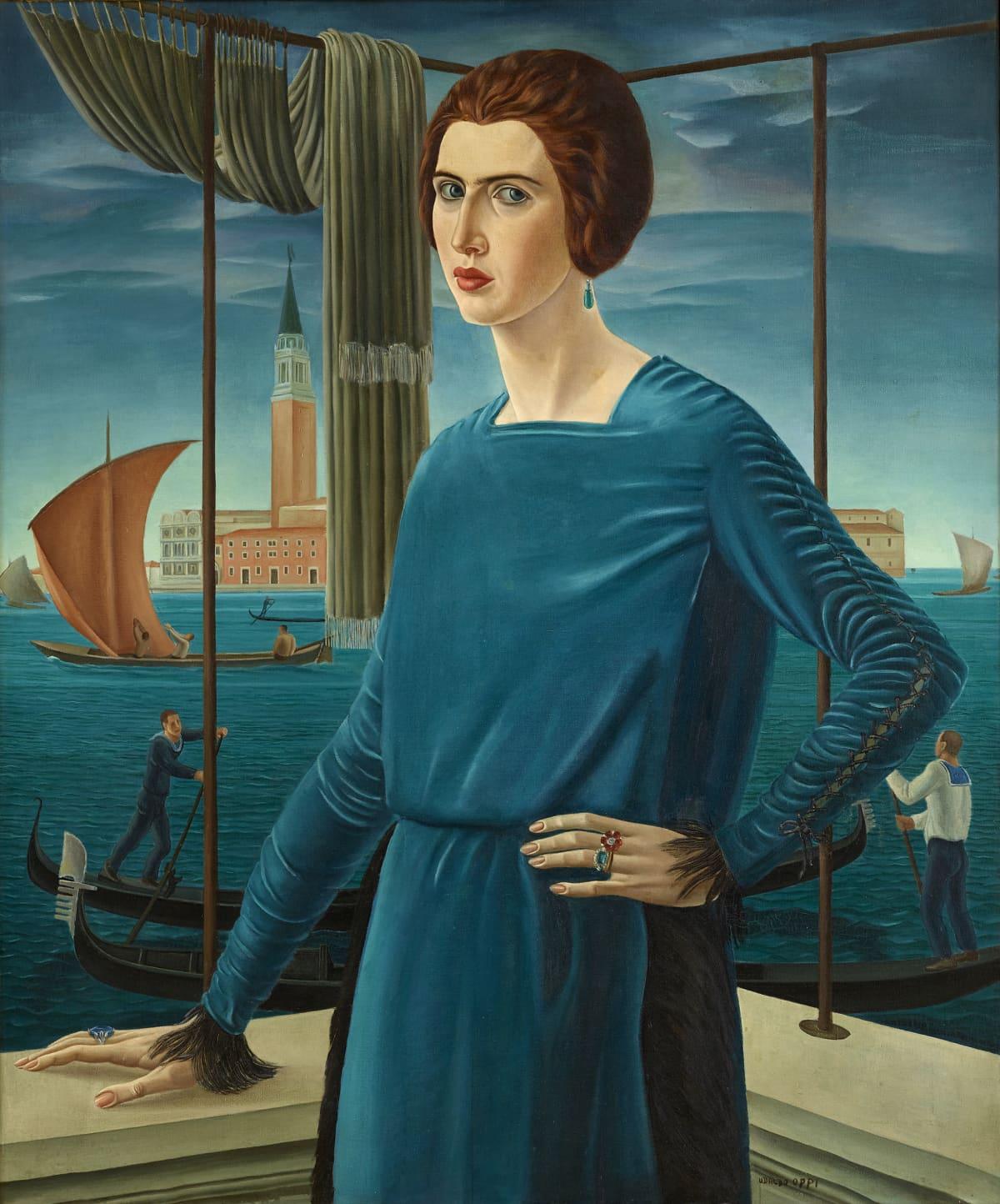 Ubaldo Oppi: Vaimon muotokuva Venetsia taustalla
