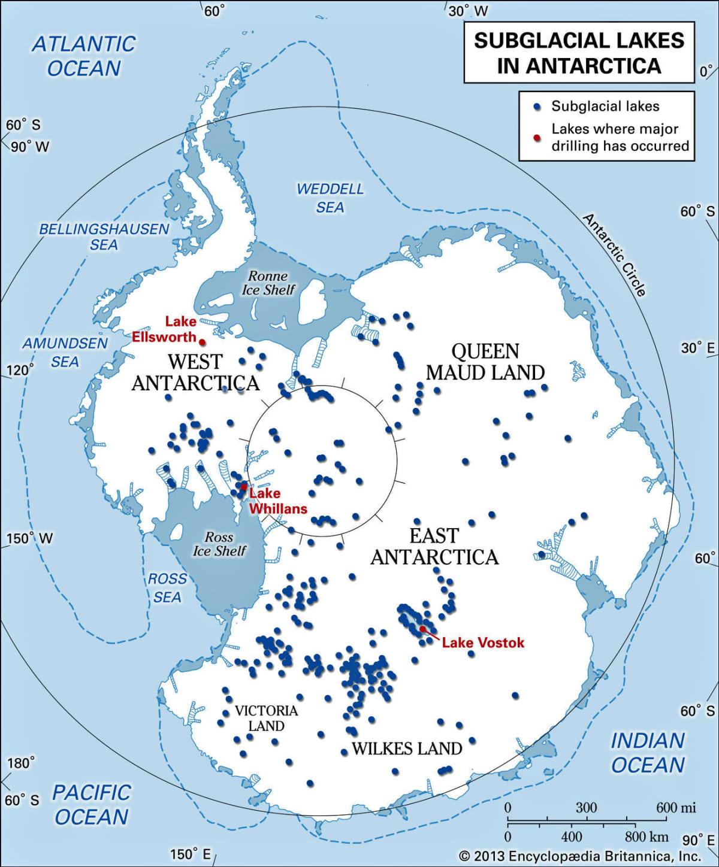 Kartta Etelämantereen järvien sijainnista.