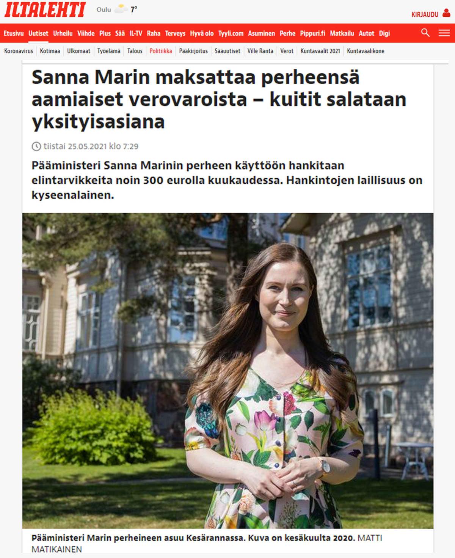 Kuvakaappaus Iltalehdestä ja uutisesta Sanna Marinin amiaiskuluista.