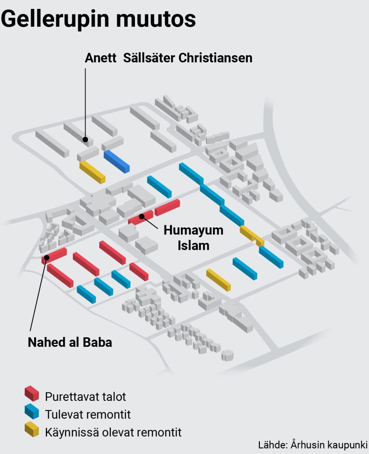 Infokartta Gellerupparkenin ja Toveshöjn kaupunginosista Århusissa.