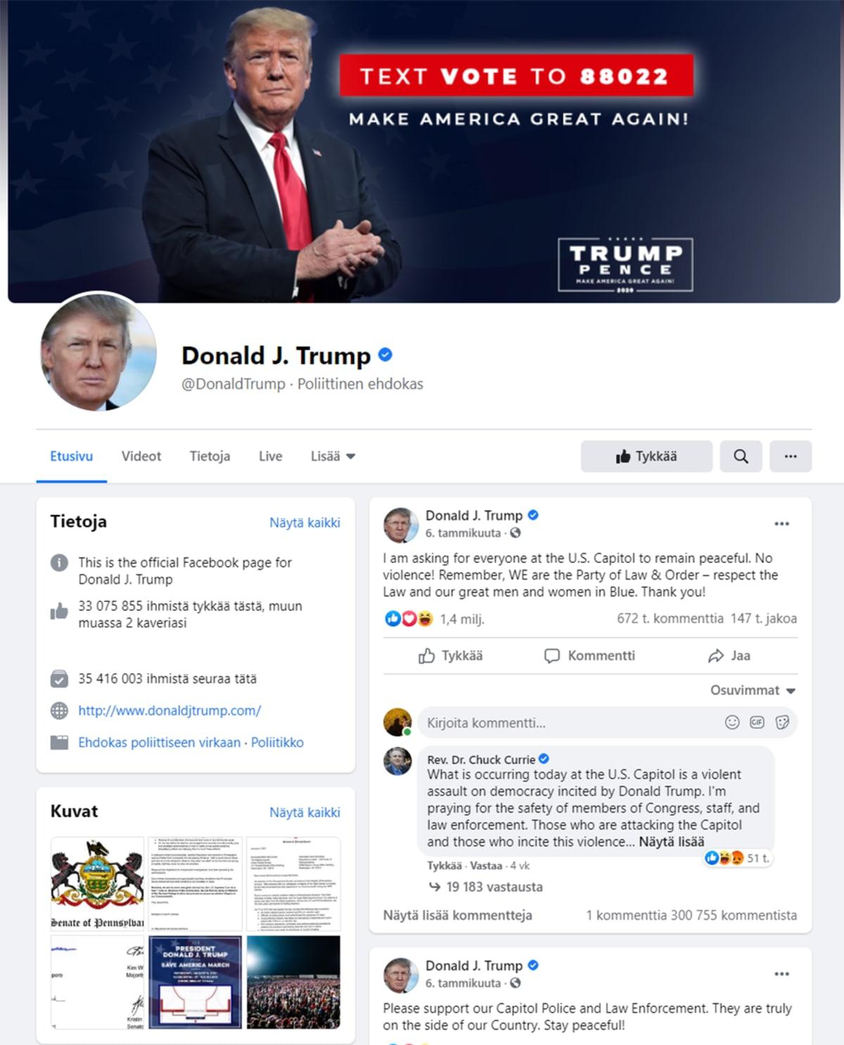 Kuvakaappaus Donald Trumpin Facebook-sivulta.
