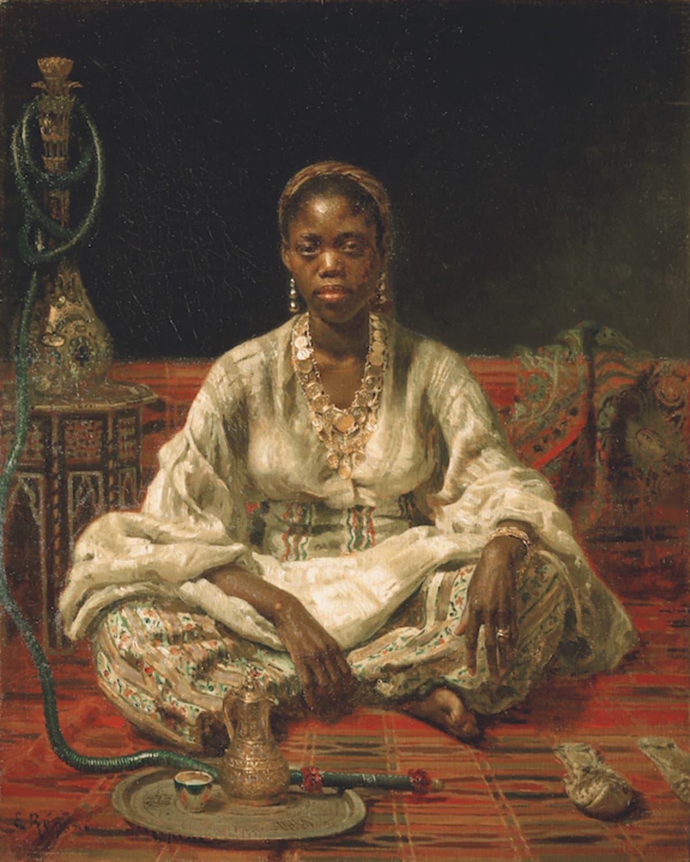 Ilja Repin: Musta nainen. Koruin koristeltu nainen punaisella matolla.