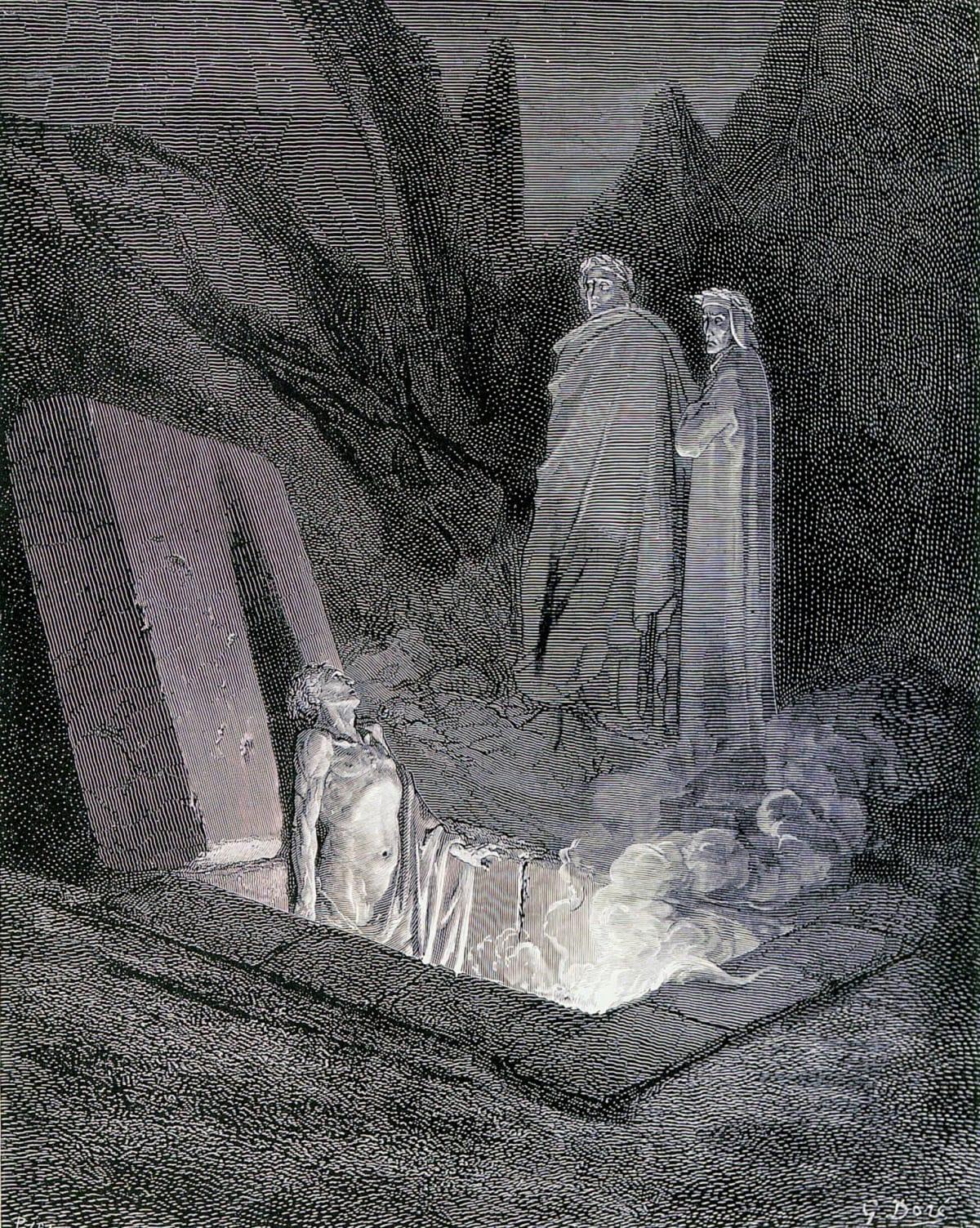 Dante ja opas Virgil puhuttelevat kummitusta.
