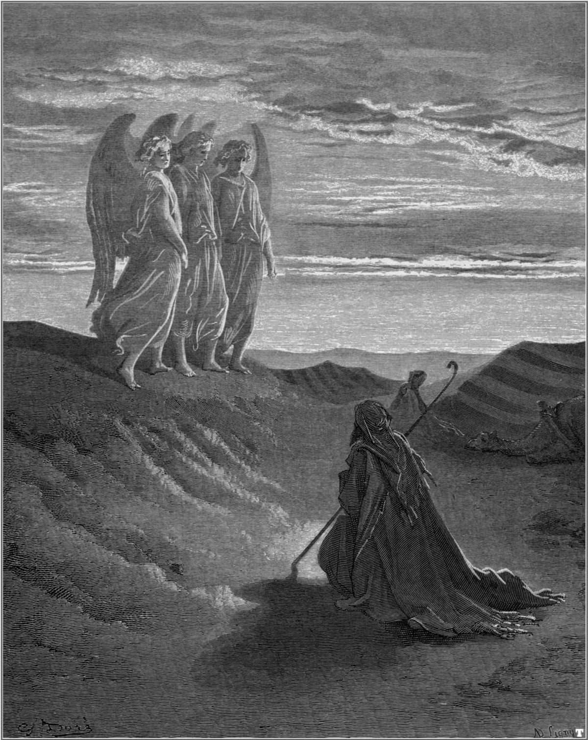 Enkeli, Gustave Doré, puupiirros,  Aabraham ja kolme enkeliä vuodelta