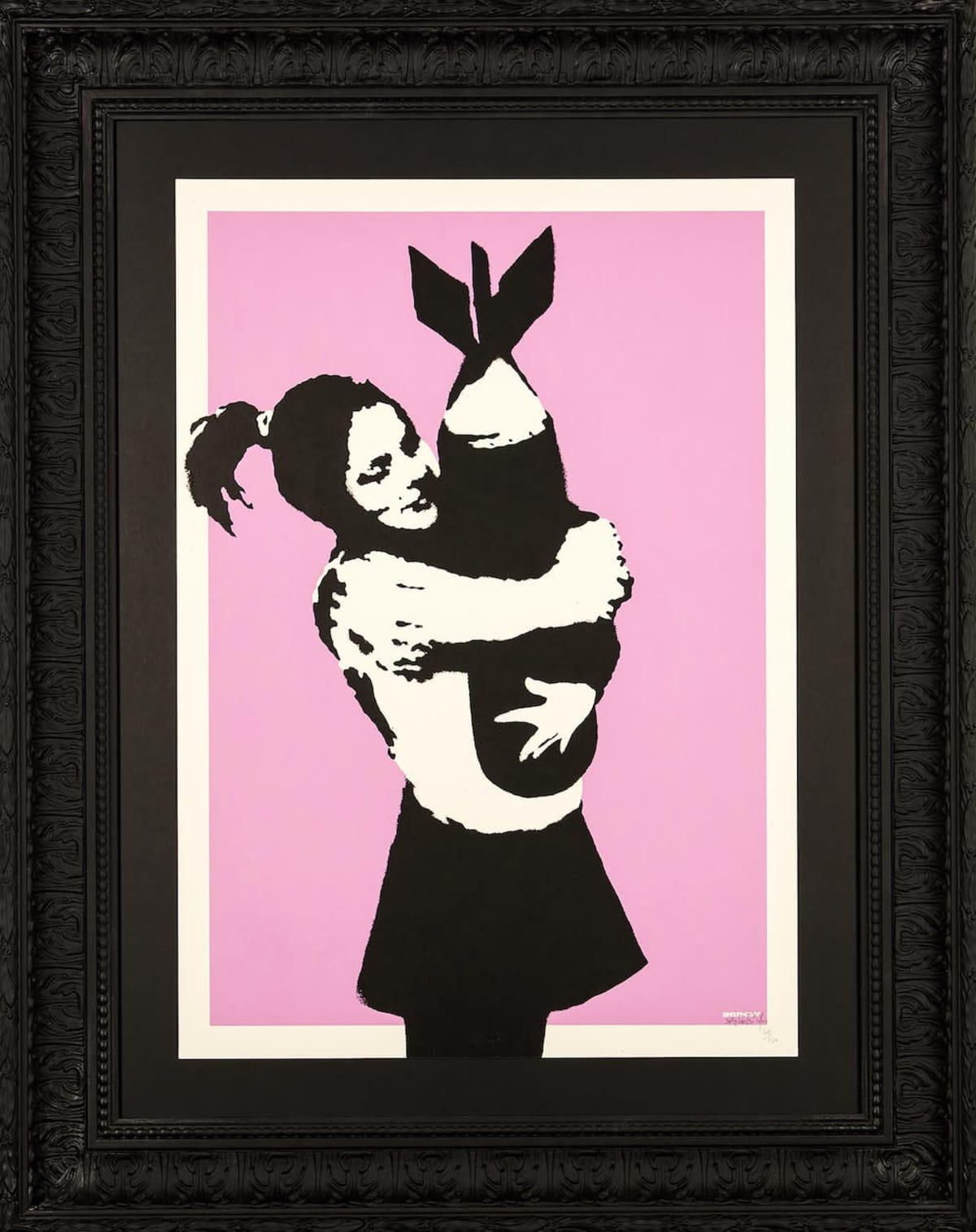 Banksy: Bomb hugger.