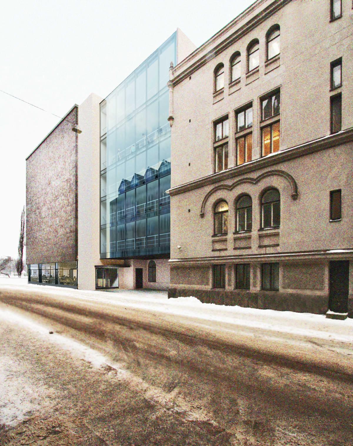 Havainnekuva Läntisen teatterikujan puolelle suunnitellusta Kansallisteatterin laajennuksesta.