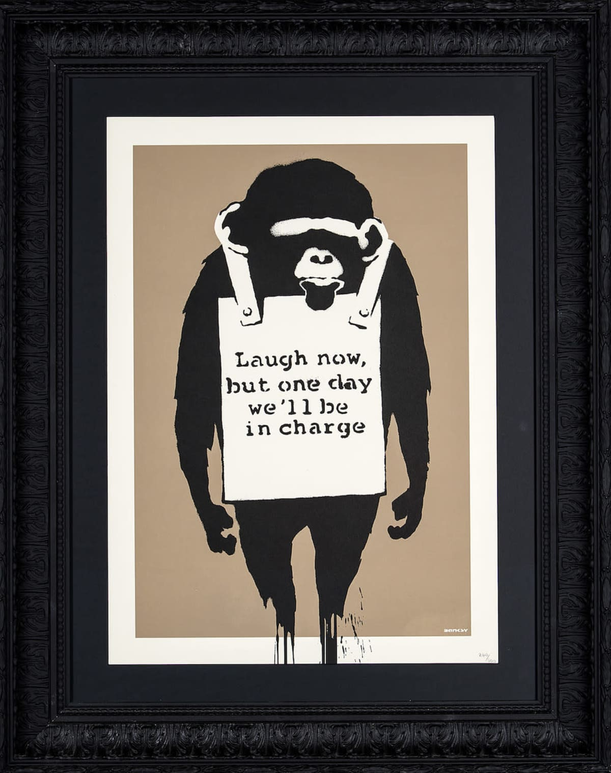 Banksyn teos Laugh now.