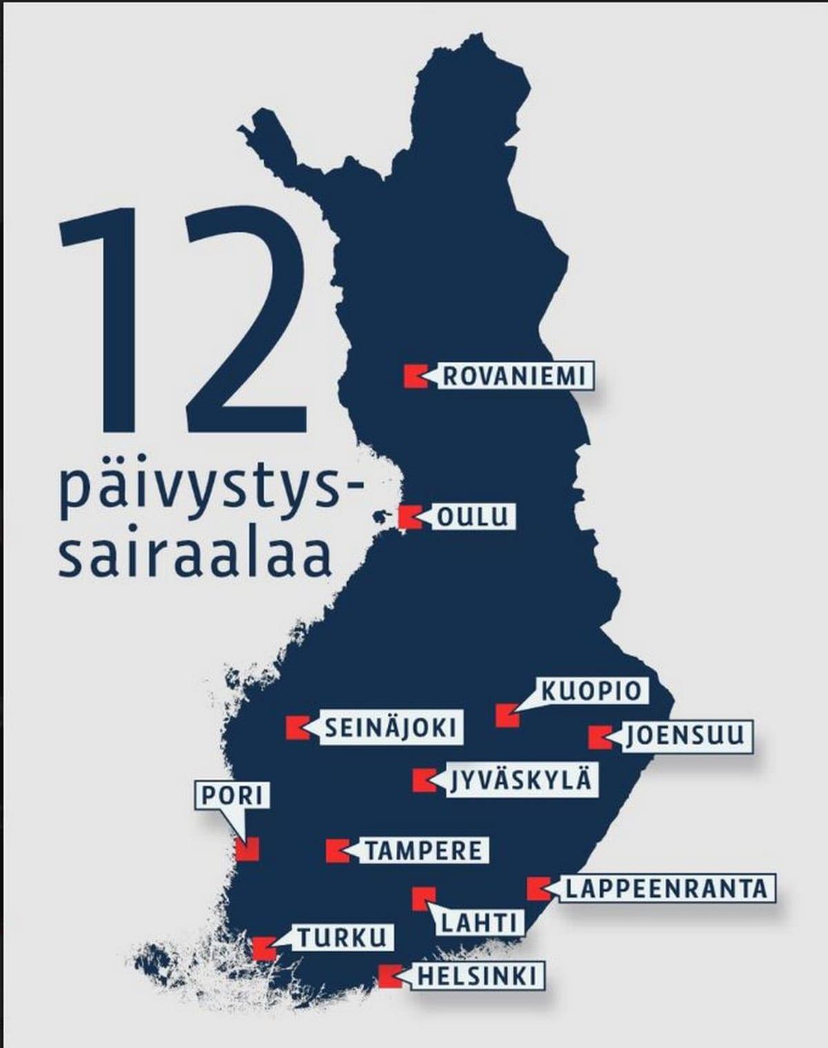 Suomen kartta ja siinä on 12 paikkakuntaa