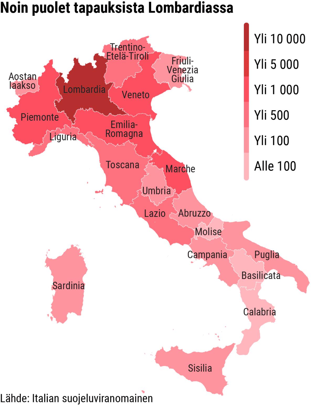 Infokartta koronavirukseen sairastuneiden varmistuneiden tapausten määrästä Italiassa maakunnittain.