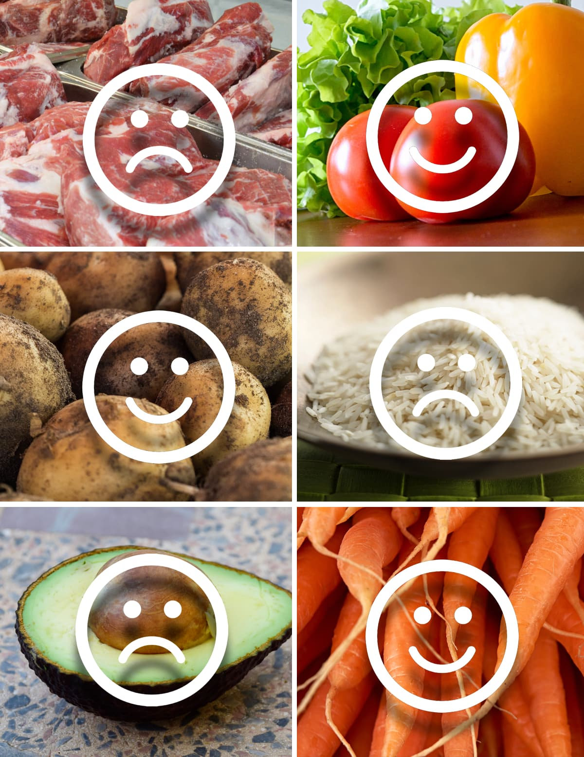 Kuvakollaasi erilaisista ruoka-aineista, joiden päällä on graafisia hymynaamoja ja hapannaamoja.
