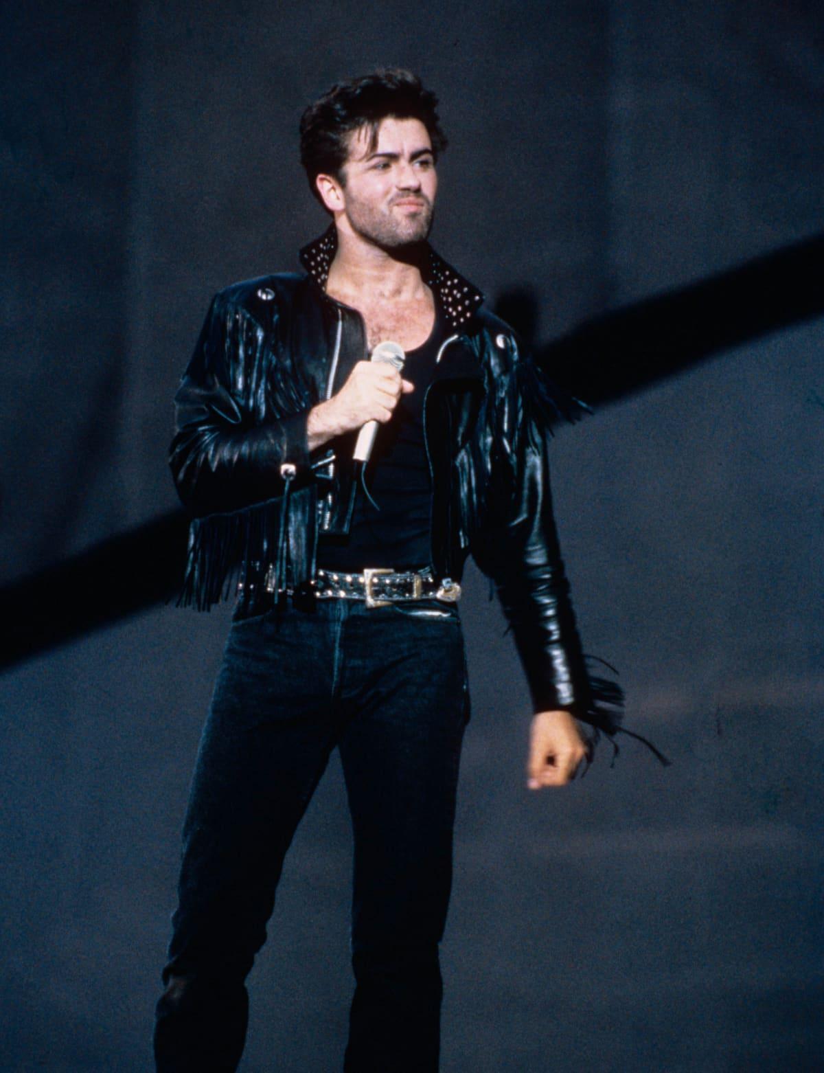 George Michael Whamin jäähyväiskonsertissa kesäkuussa 1986 Wembley-areenalla.
