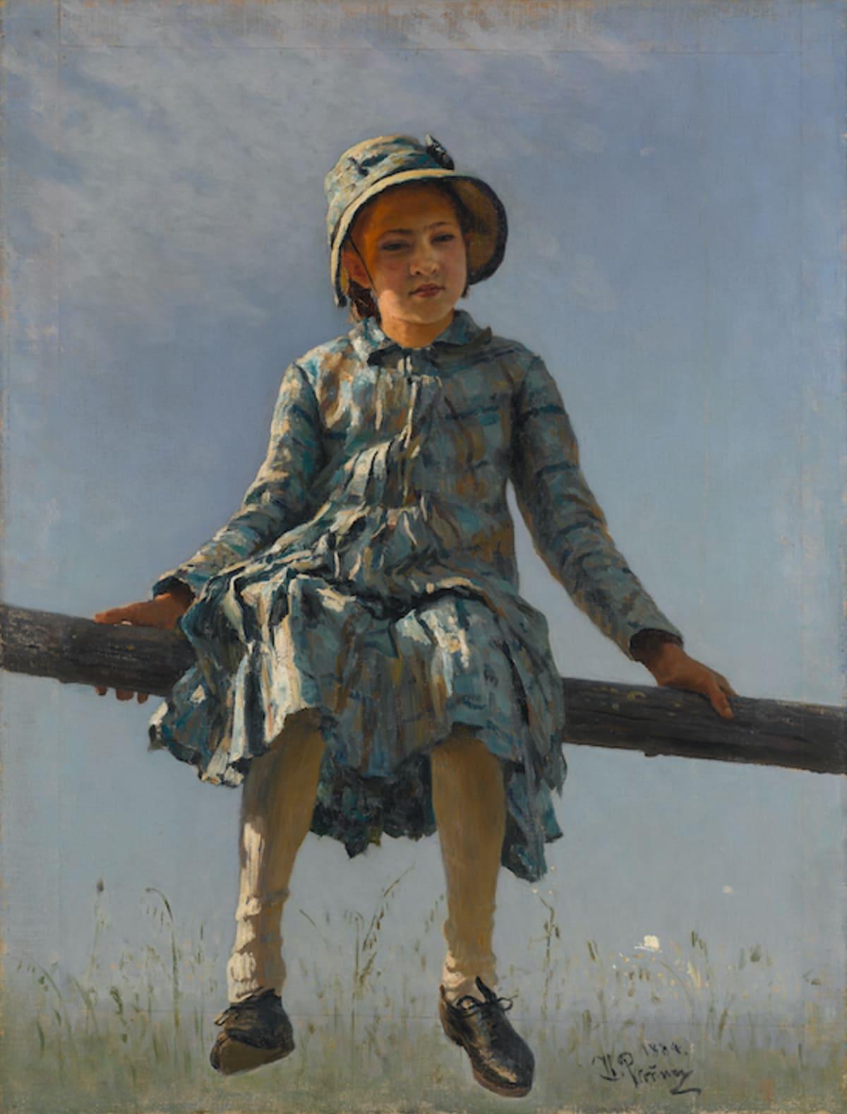 Ilja Repin: Pyryharakka. Tyttö istumassa orrella.