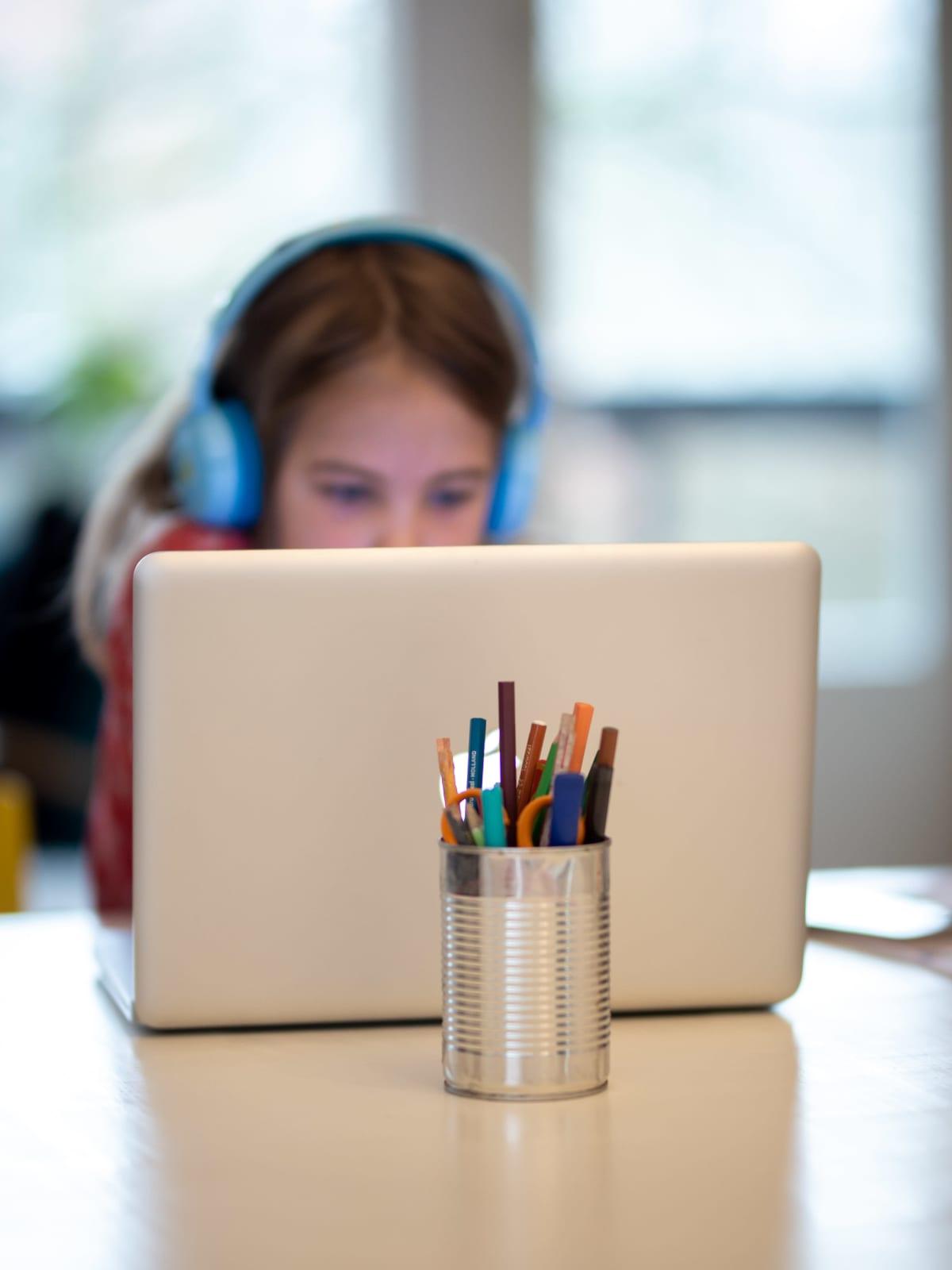 Koululainen tietokoneella.