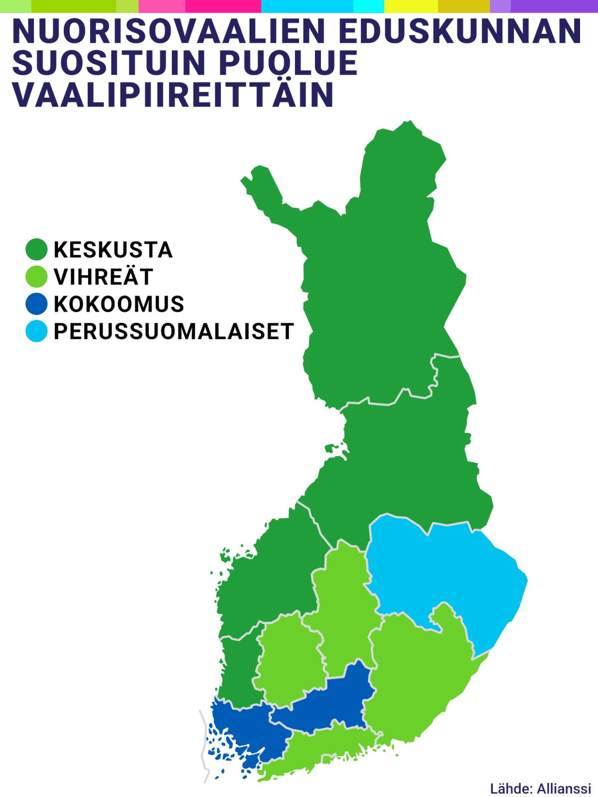 Kartta Nuorisovaalien suosituimmasta puolueesta vaalipiireittäin.