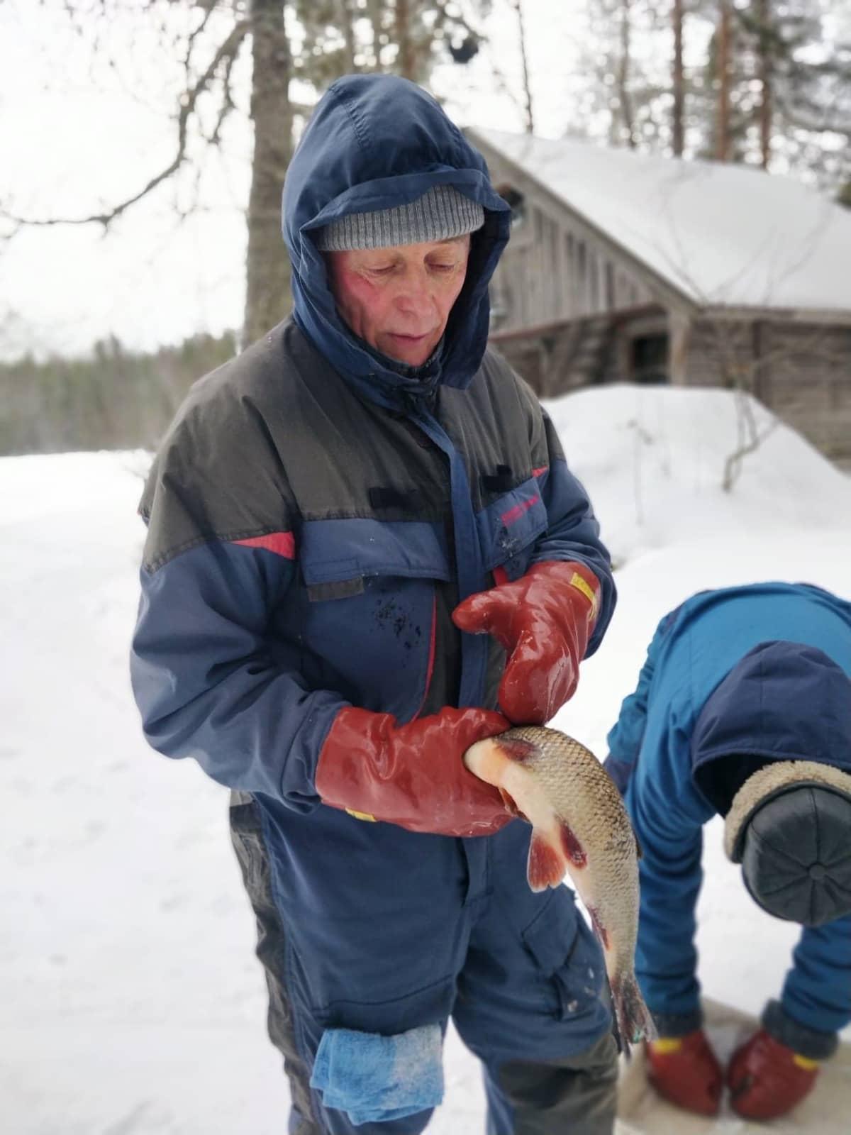 Kalastaja Jouko Timonen Pielisen rannalla.