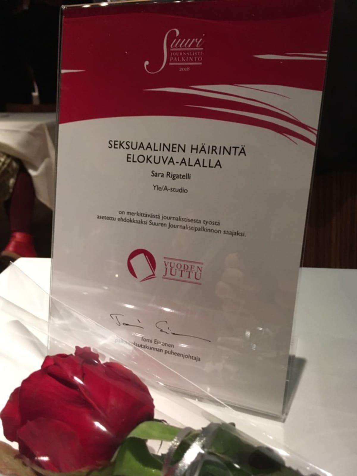 Sara Rigatellin ehdokkuus-diplomi