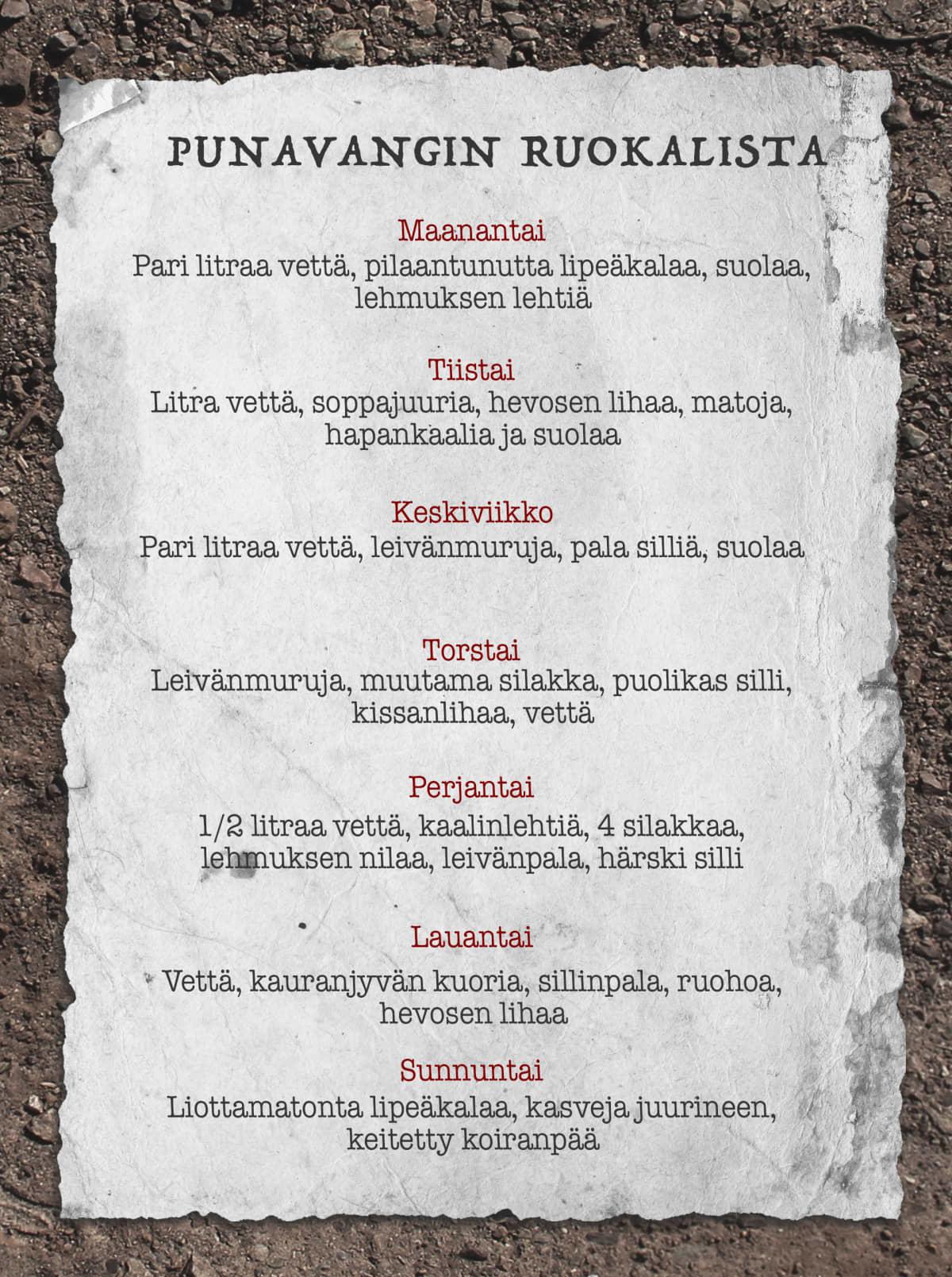 Grafiikka punavangin ruokalistasta