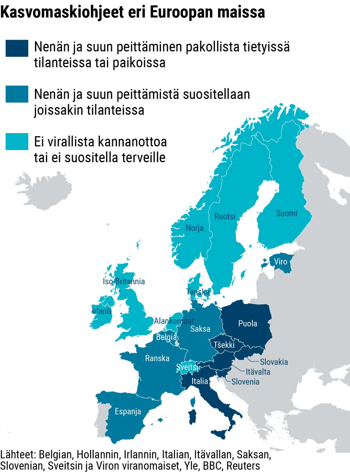 Infokartta ohjeista kasvomaskien käyttöön eri Euroopan maissa.