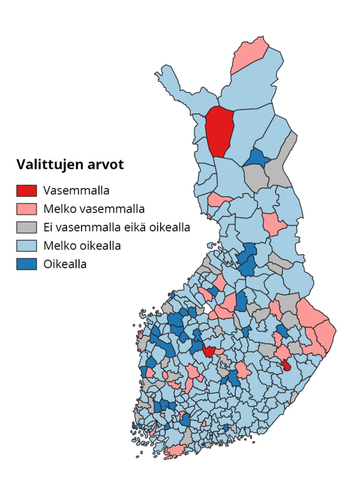 Kuntavaaleissa 2021 valittujen valtuustojen arvot kartalla.