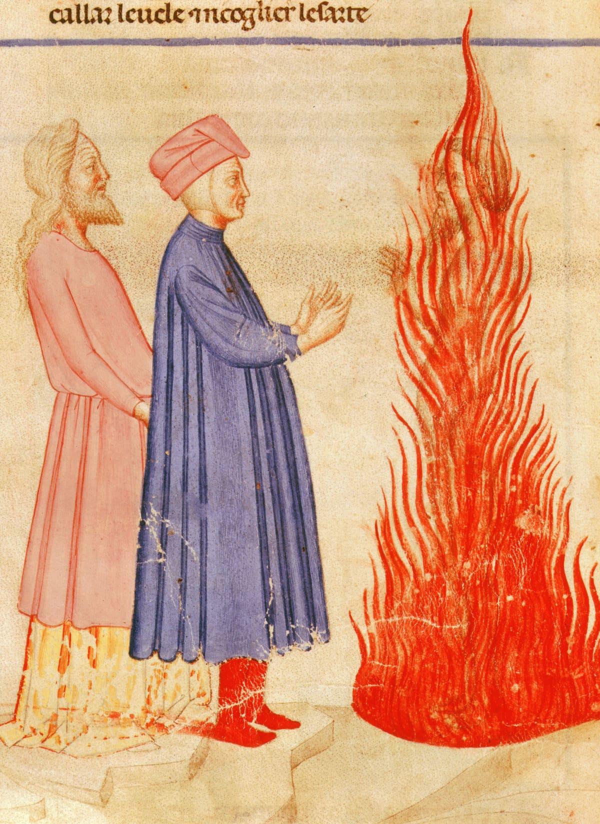 Dante ja Virgil puhuvat Ulyssesille joka on liekeissä.