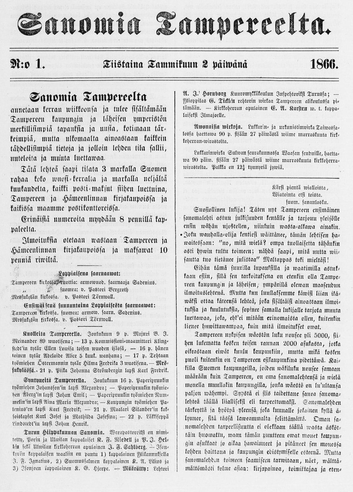 Sanomia Tampereelta -lehden ensimmäinen kansi tammikuun 2. päivältä vuodelta 1866
