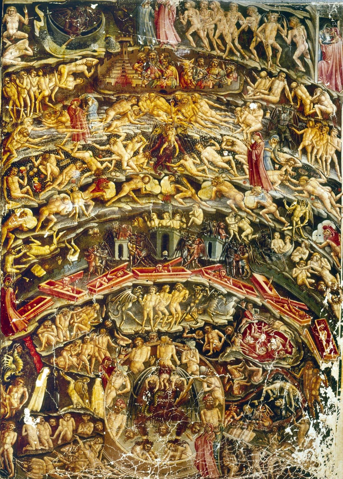 Vanha Italialainen kuvitus Danten kuvaamasta tuonpuoleisesta, sen eri tasoista.