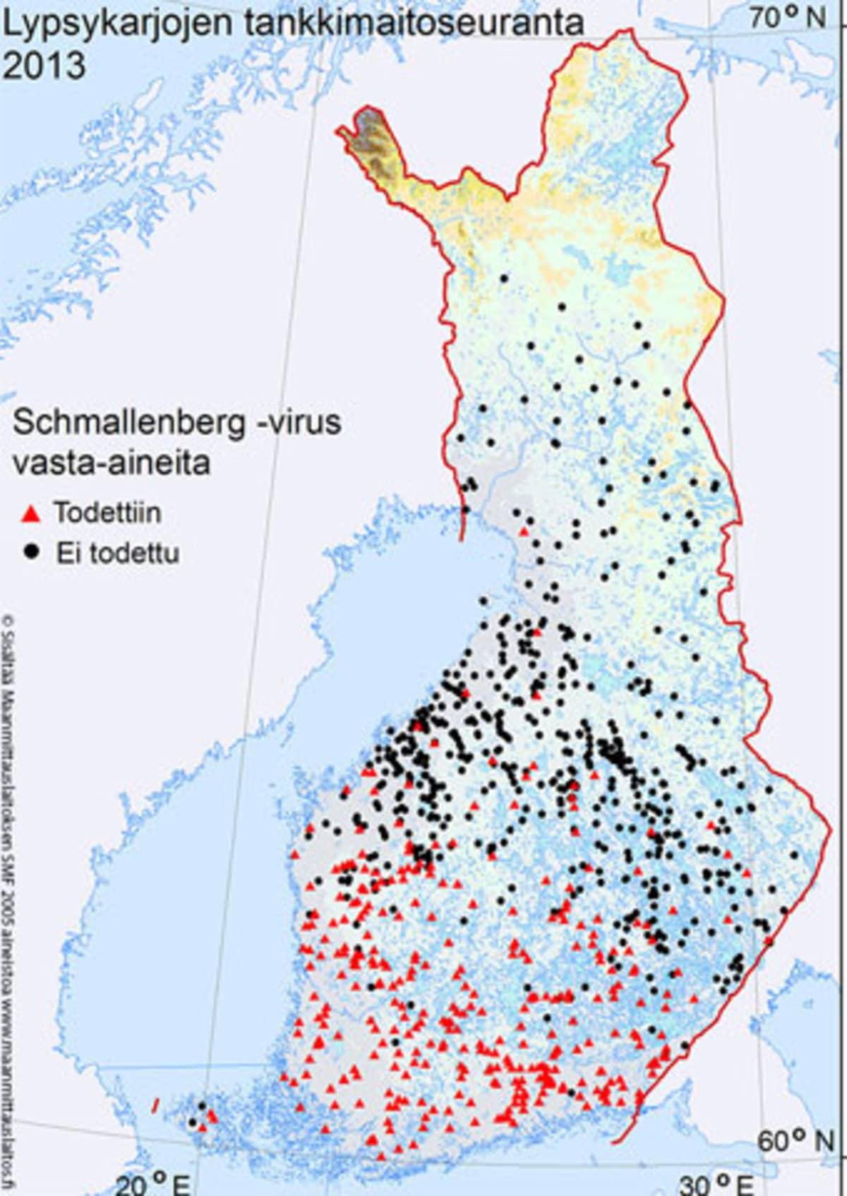 Eviran karttakuva Schmallenberg-viruksen leviämisestä kertovista vasta-ainehavainnoista.