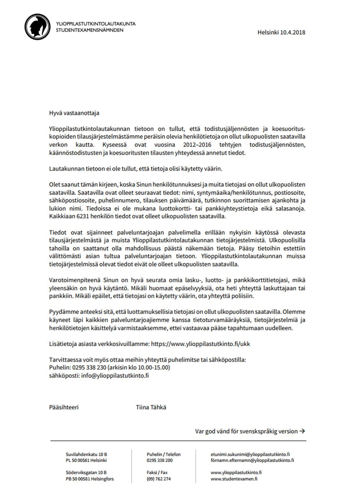 Ylioppilastutkintolautakunnan tietovuotoon liittyvä kirje.