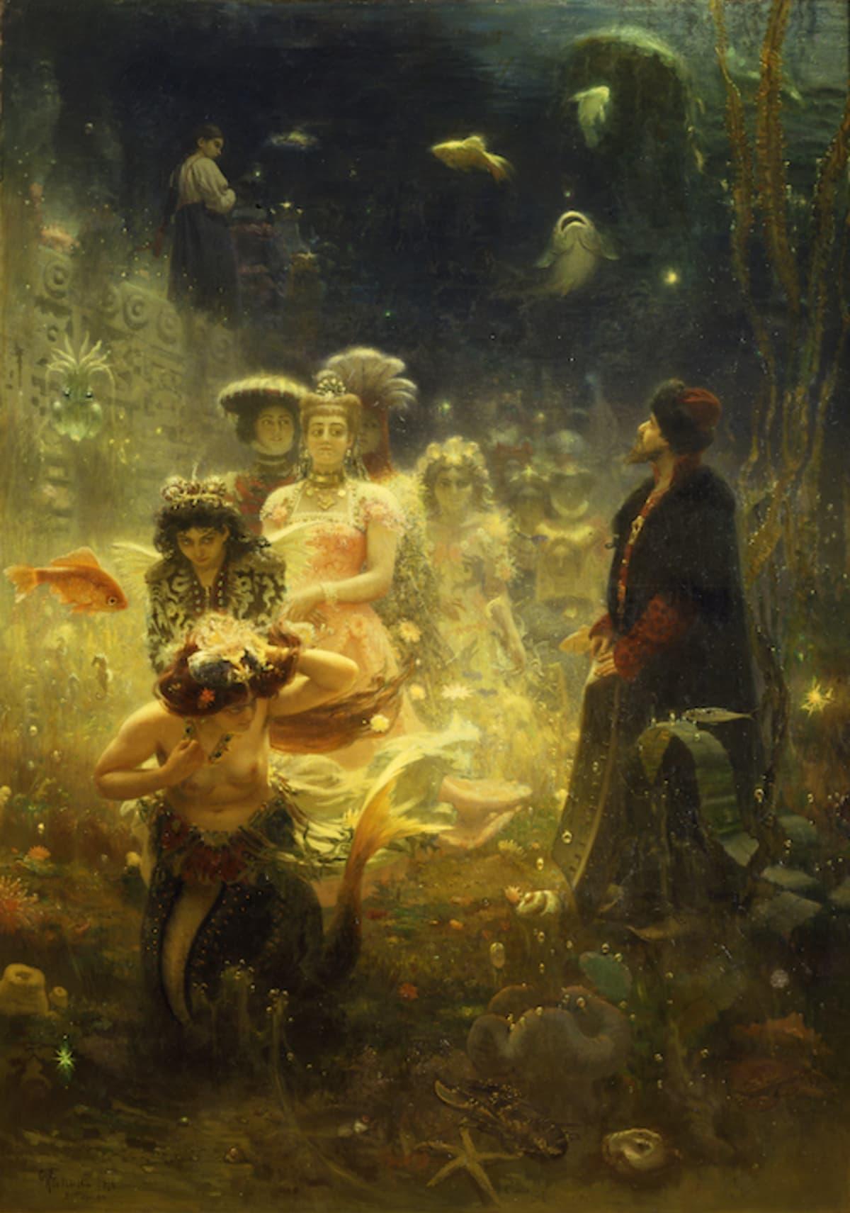 Ilja Repin: Sadko vedenalaisessa valtakunnassa. Mies meren pohjassa veden kuninkaan tyttärien luona.