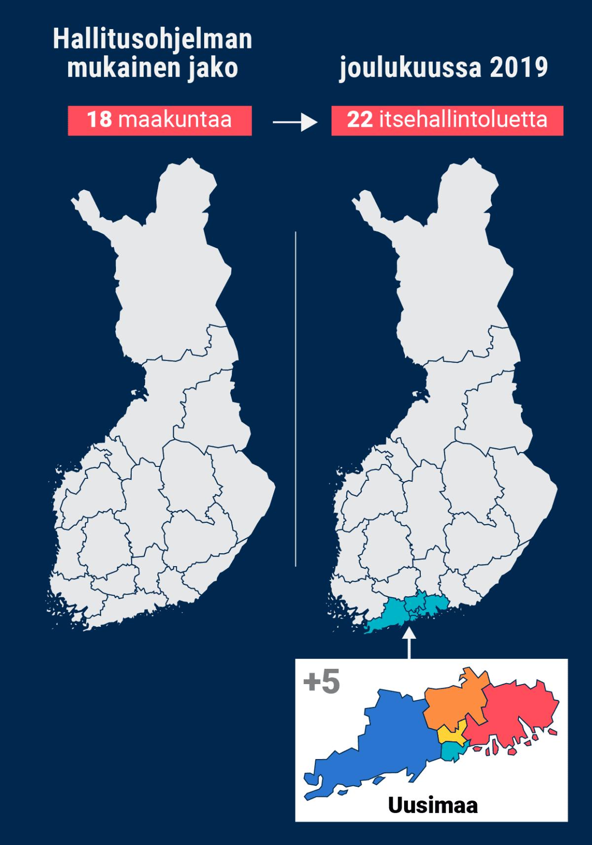 Kunnat eivät enää vastaa sosiaali- ja terveyspalveluista - vastuu siirtyy 22 alueelle ja Helsingille. Hallitusohjelman mukaan vastuu sosiaali- ja terveyspalveluista siirretään pois kunnilta itsehallinnollisille maakunnille. Hallitusohjelman mukaan niitä piti olla 18.