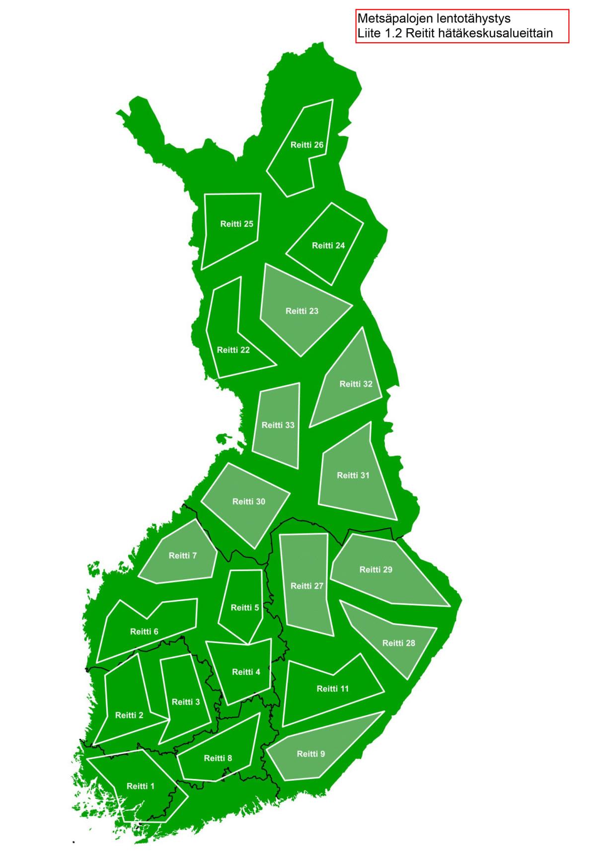 Kuvassa Suomen metsäpalojen tähystyslentojen uudet reitit.