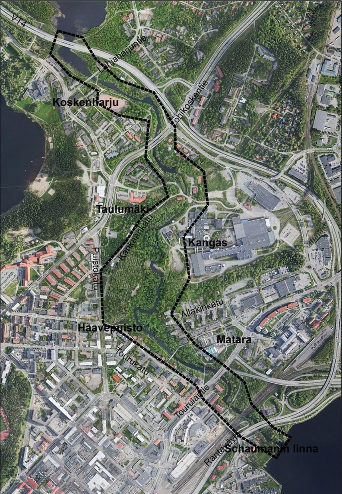 Tourujoen suunnittelualue ulottuu ylhäältä Palokkajärvestä alas Jyväsjärveen.