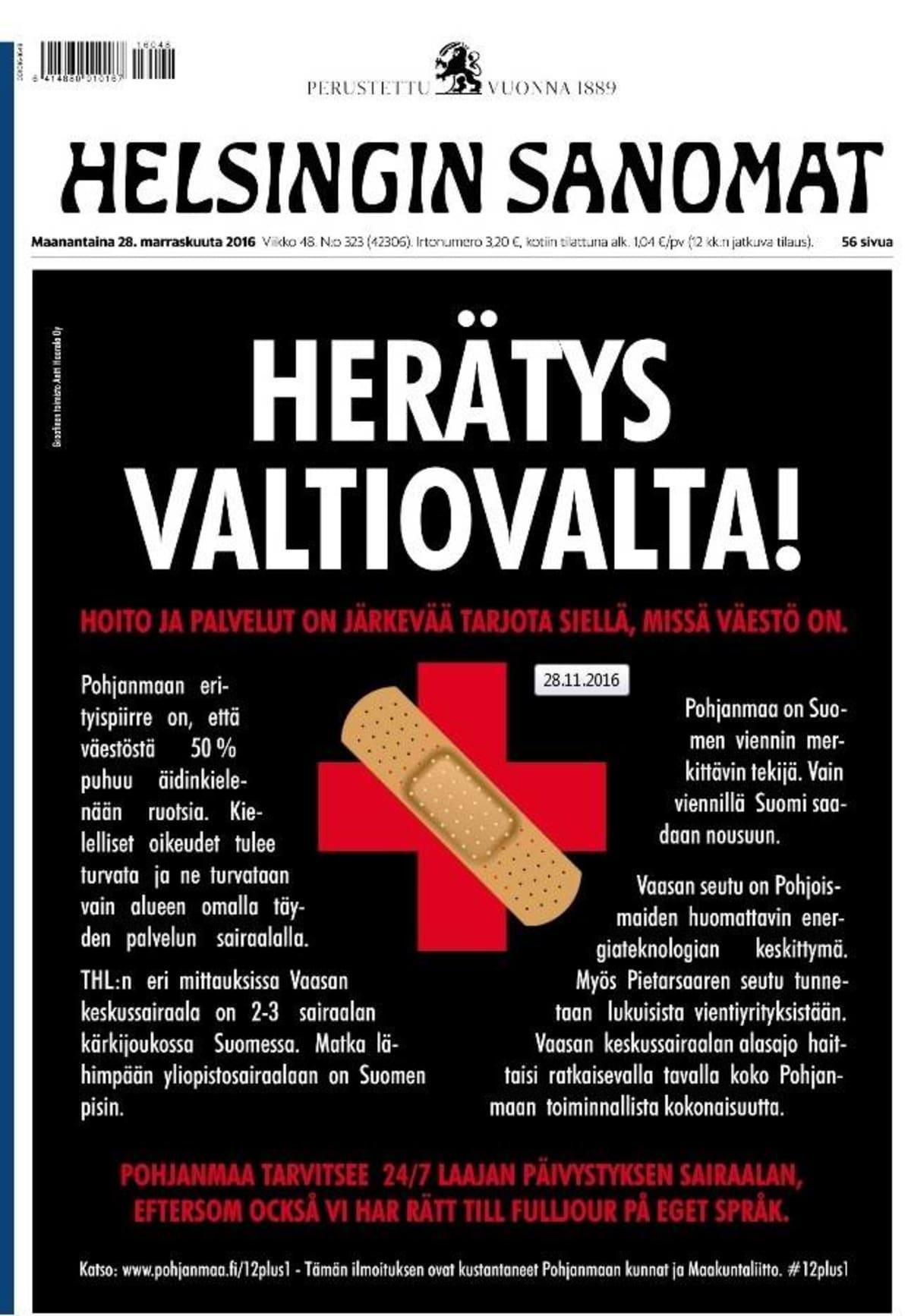 Pohjanmaan kuntien ja Pohjanmaan liiton ostama mainos Helsingin Sanomien etusivulla 28.11.2016.