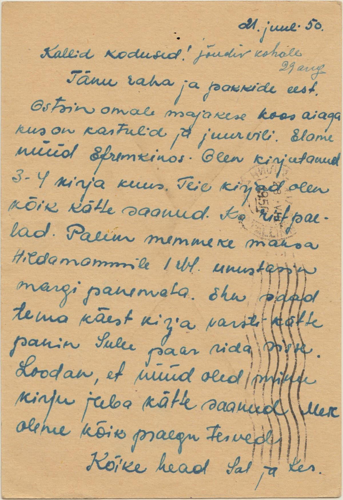 Kersti Sammin äidin Viroon lähettämä käsinkirjoitettu kirje