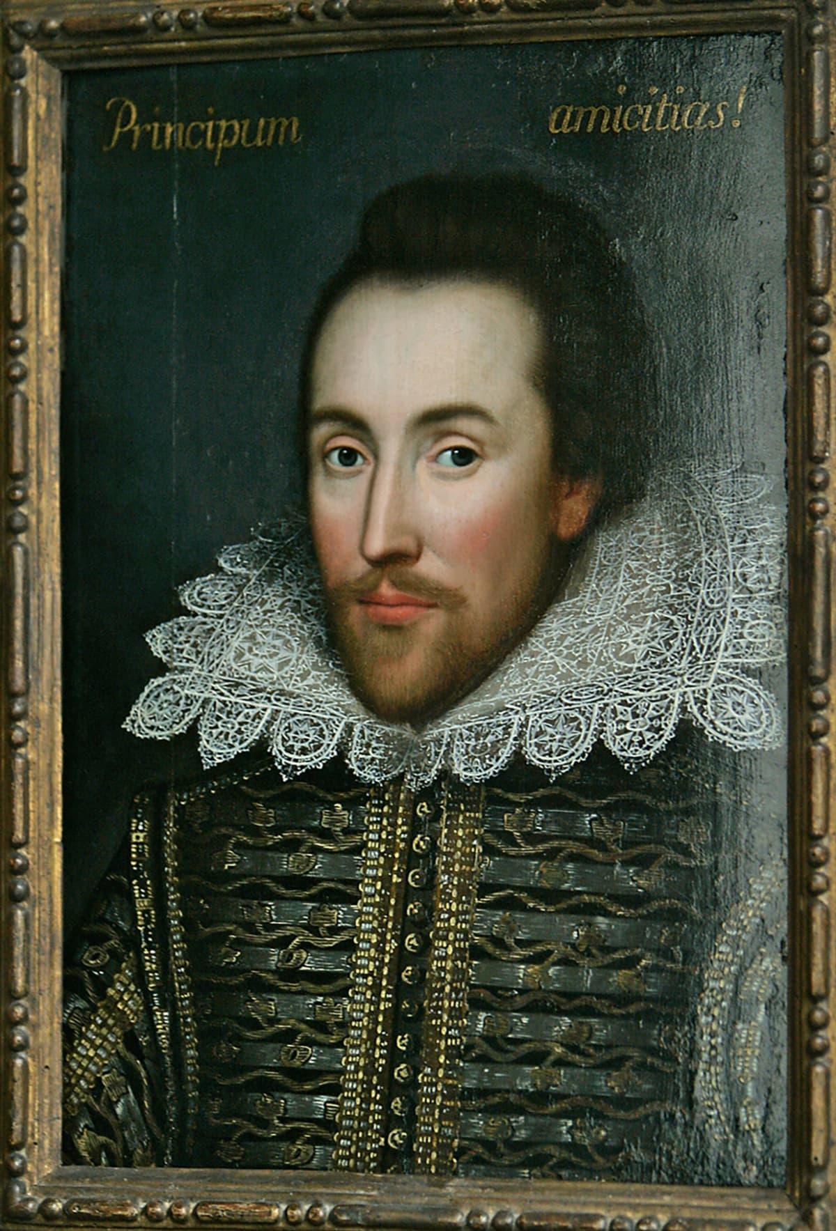 Kirjailija William Shakespearea esittävä muotokuva.