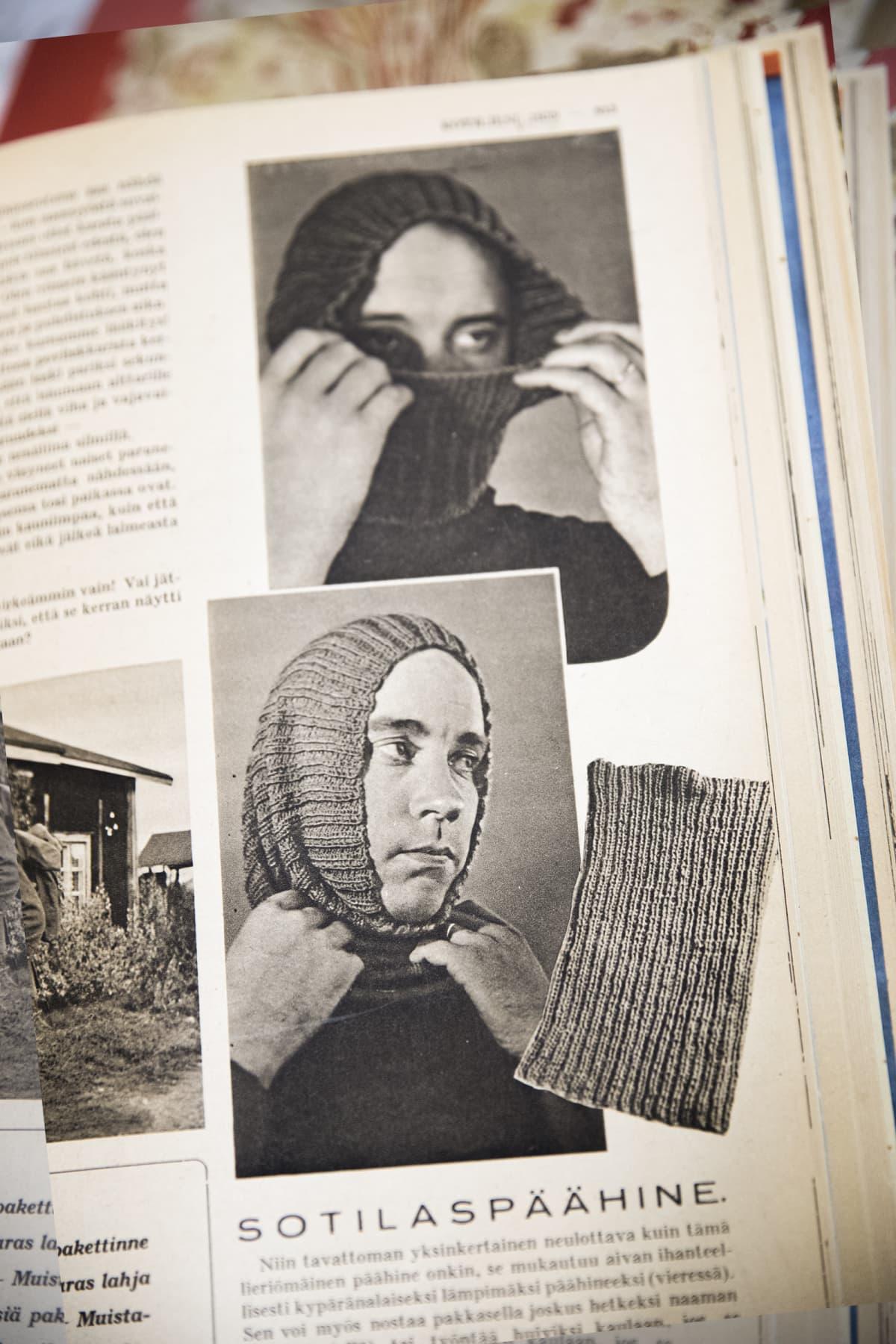 Sotilaspäähineen neulontaohje Kotiliesilehdessä Talvisodan aikana.