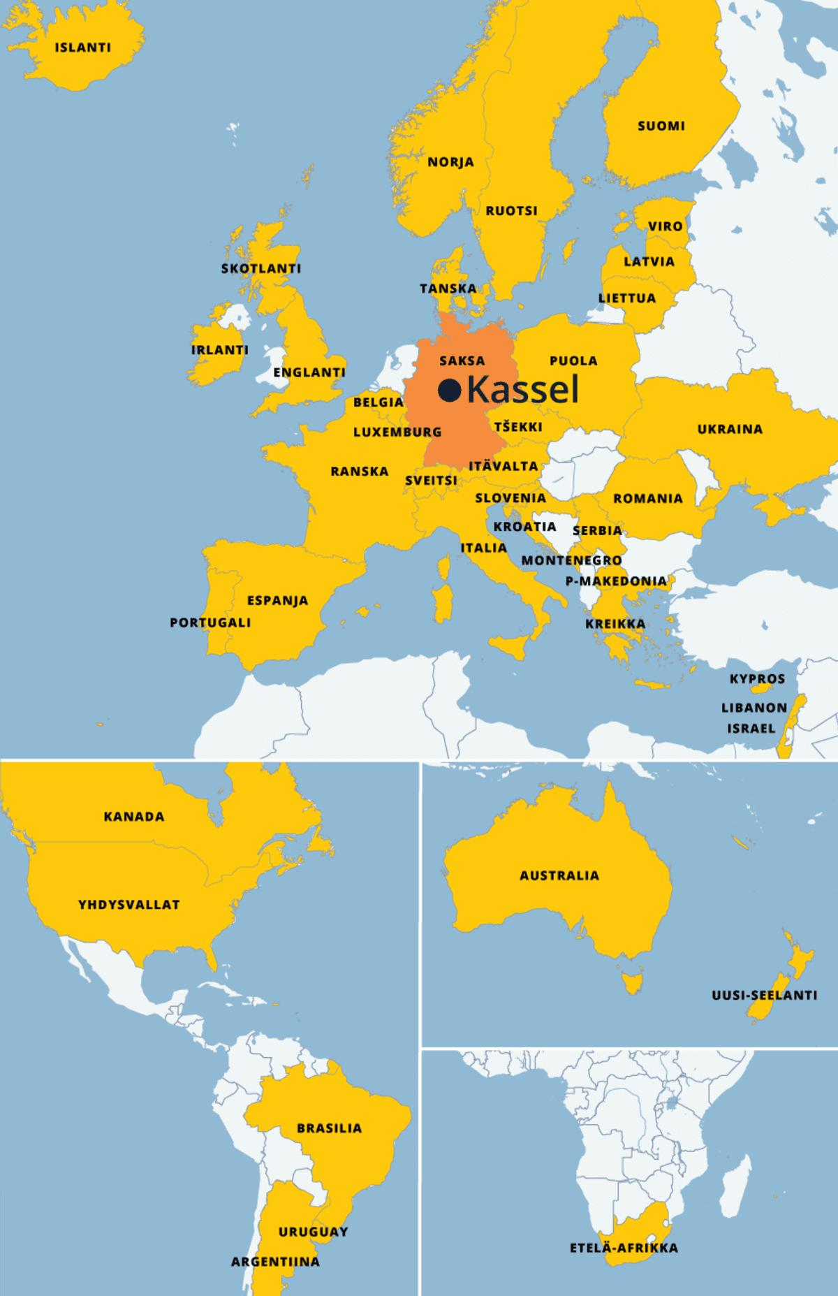 Suuri kartta johon on merkitty yli 40 maata ympäri maapalloa.