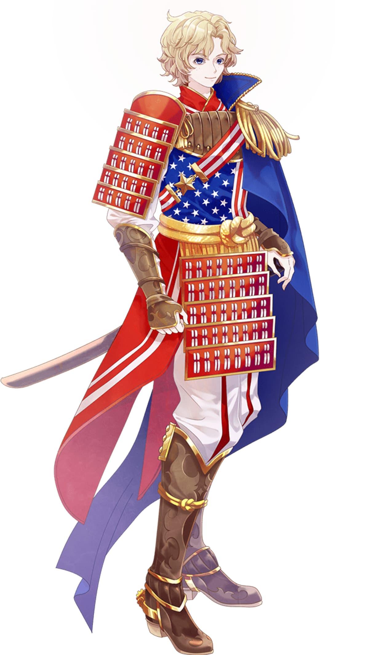 Animehahmo Yhdysvaltain lipun väreissä.