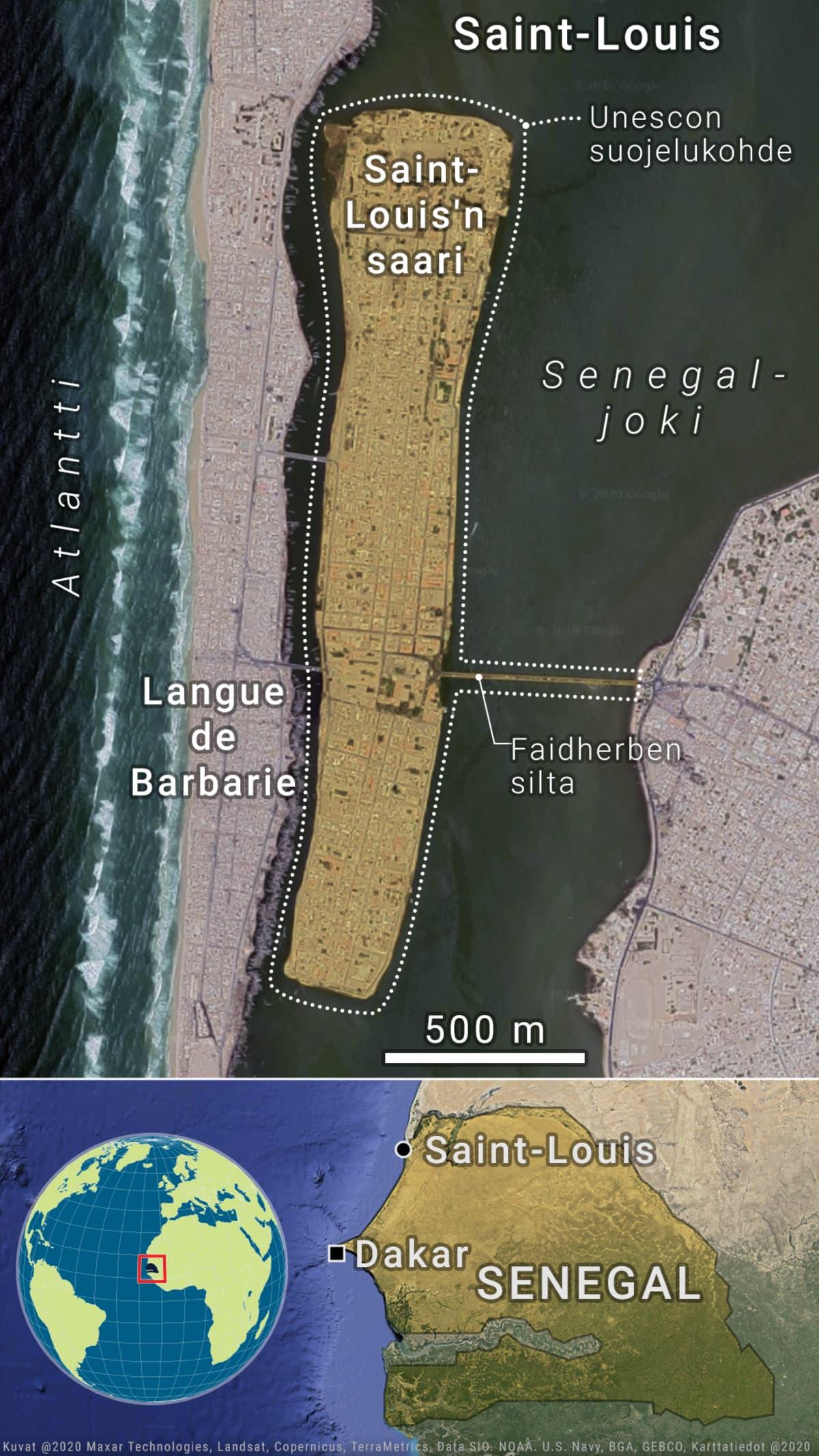 Satelliittikartta Saint-Louis'n sijainnista Senegalissa ja Senegalin sijainnista Afrikan mantereella.