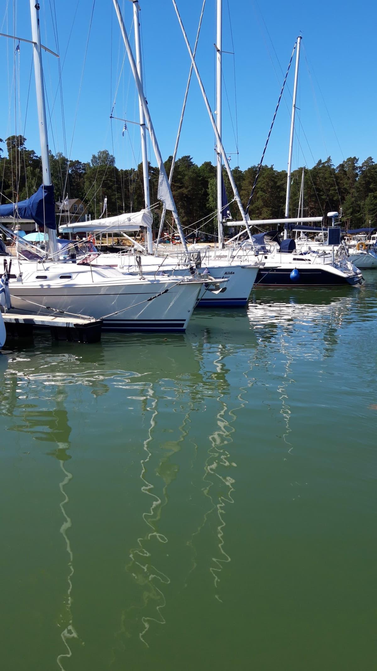 Veneitä Nauvon venesatamassa.