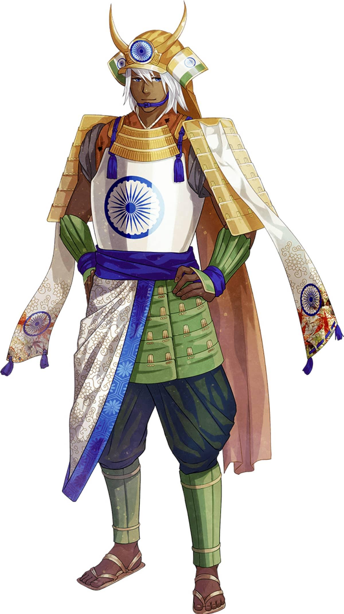 Animehahmo Intian lipun väreissä.